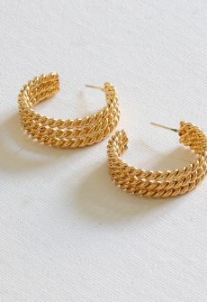 Petra Chain Chunky Plated Brass Hoop Earring